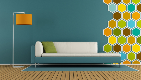 couch: Living room with hexagon decorations on wall and modern sofa - 3d rendering