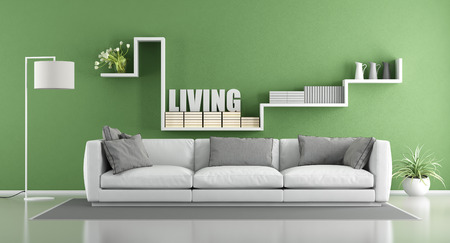 living room interior: Modern living room with white sofa and shelf on wall - 3d rendering