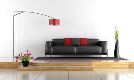 wood floor: Two levels living room with black sofa - 3d rendering