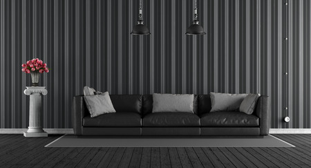 wooden floors: Black classic living room with leather sofa and ionic pedestal with roses - 3d rendering Stock Photo