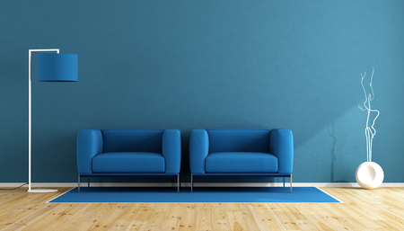 木製の床 - 3 d レンダリングの 2 つの肘掛け椅子および床ランプ リビング ルームを青します。