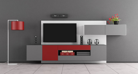 home: Gray and red living room with wall unit and TV - 3d rendering
