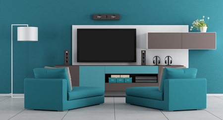 living room design: Blue living room with wall unit,tv and two chaise lounge - 3d rendering