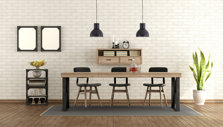 industrial design: Dining room in industrial style with table and chairs - 3d rendering