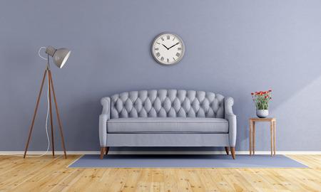 furniture design: Classic lilac interior with elegant sofa and floor lamp - 3d rendering Stock Photo