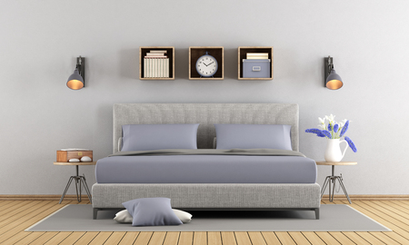 nightstand: Minimalist gray and lilac master bedroom - 3d rendering