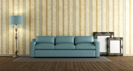 Living room in classic style with blue sofa - 3d rendering Stock Photo