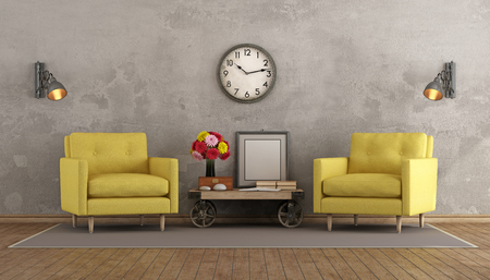 furniture design: Retro living room with two yellow armchairs and coffee table in industrial style - 3d rendering