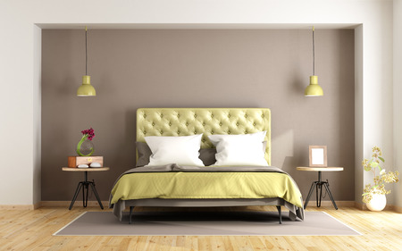 bedroom: Brown and green master bedroom with double bed and nightstand - 3d rendering Stock Photo