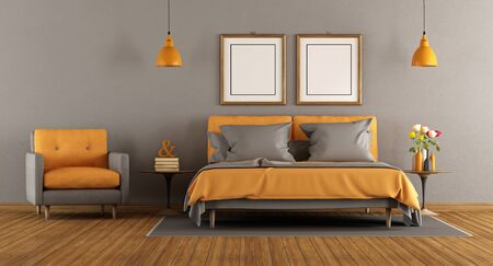 nightstand: Modern gray and orange bedroom with double bed and armchair - 3d rendering