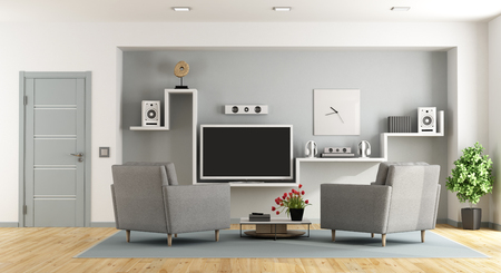 3d: Modern living room with tv and home cinema system - 3d rendering