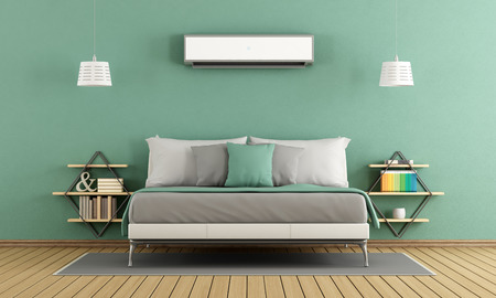 nightstand: Green modern master bedroom with air conditioner - 3d rendering