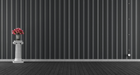 empty: Empty classic black room with pedestal with roses - 3d rendering Stock Photo