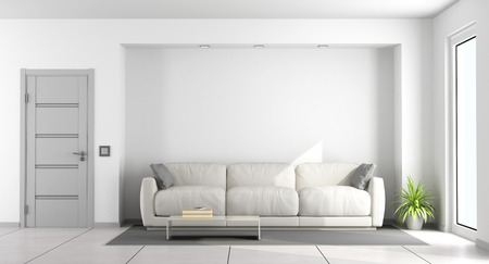 Weißes Sofa in einem Wohnzimmer mit geschlossener Tür und Fenster - Wiedergabe 3d Standard-Bild - 83043819