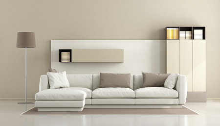 living room interior: Minimalist living room with white sofa and wall unit on background - 3d rendering Stock Photo