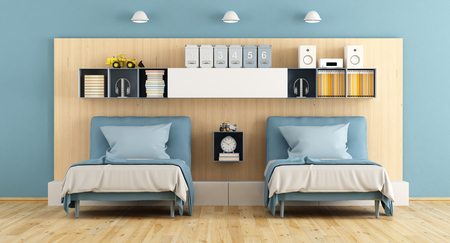 modern: Teenage bedroom with two single bed, and shelf wooden panel wall -3d rendering Stock Photo