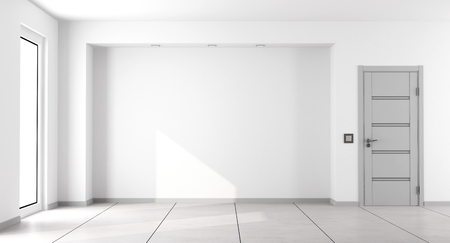 Empty white minimalist living room with gray closed door and window - 3d rendering