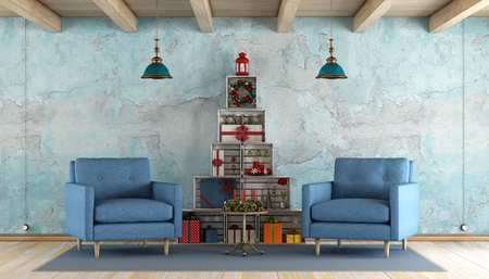 dirty room: Blue old room with two wooden armchairs and christmas trees made with wooden crates - 3d render Stock Photo