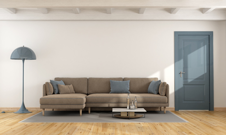 ceiling: Modern white living room with brown and blue sofa and closed door - 3d rendering Stock Photo