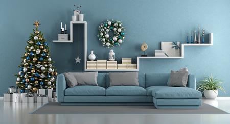 Blaues modernes Wohnzimmer mit Weihnachtsbaum, elegantem Sofa und weißem Regal mit Dekor wendet ein - Wiedergabe 3d
