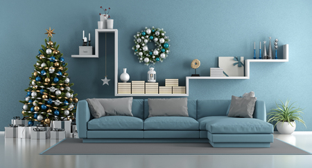 Blue modern living room with christmas tree,elegant sofa and white shelf with decor objects - 3d rendering Stok Fotoğraf