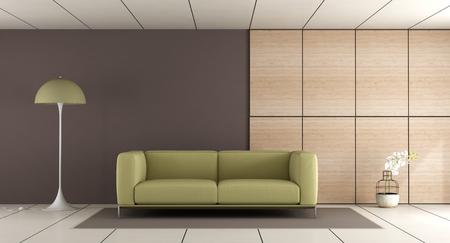 Modernes Wohnzimmer Mit Sofa, Blauer Wand Und Konkreter Täfelung ...