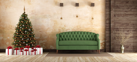 christmas gift: Old living room with green sofa ,christmas tree and gift box -3d rendering Stock Photo