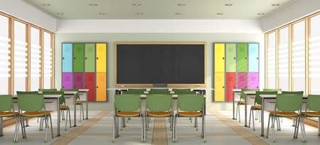 Colorful modern classroom without students - 3d rendering