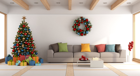 living room window: White living room with christmas tree and xmas decorations - 3d rendering