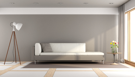 contemporary living room: Modern living room with white and brown sofa,floor lamp and window - 3d rendering Stock Photo