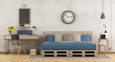 Vintage master bedroom with pallet bed and desk with chair - 3d rendering