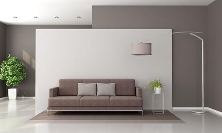 #87020823   Modernes Wohnzimmer Mit Braunem Sofa Und Stehlampe   Wiedergabe  3d