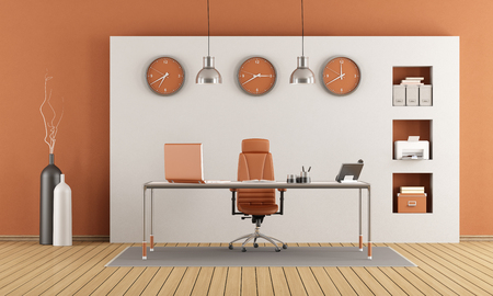 clock: Elegant modern office with desk and niche on wall - 3d rendering Stock Photo