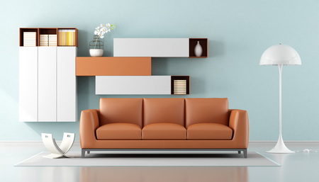 Minimalist Living Room With Orange Sofa And Wall Unit On Background   3d  Rendering Stock Photo