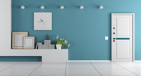 clock: Blue home entrance with armored door and shelf with decor objects - 3d rendering