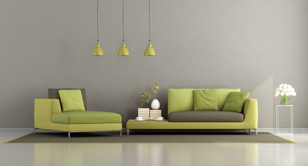 Modern green and brown living room with sofa and chaise lounge - 3d rendering Stock Photo