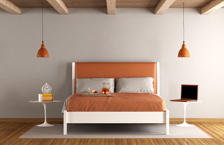 clock: Minimalist master bedroom with double bed - 3d rendering