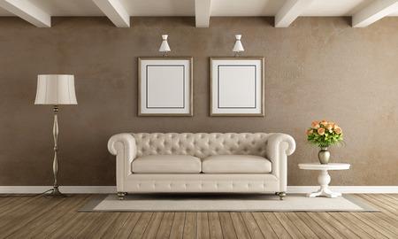 白いソファ 3 d レンダリングとクラシックなスタイルのリビング ルーム
