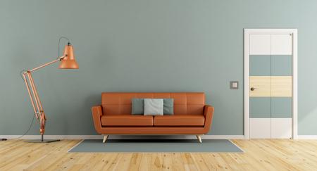 Blue living room with orange sofa , closed door and wall lamp - 3d rendering Standard-Bild