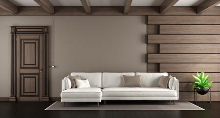 GroBartig #88651541   Weißes Sofa In Einem Eleganten Wohnzimmer Mit Dunklen  Holzverkleidung Und Geschlossener Tür   Wiedergabe 3d