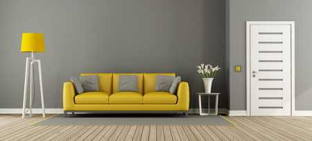 Gray living room with yellow sofa,floor lamp and closed door - 3d rendering