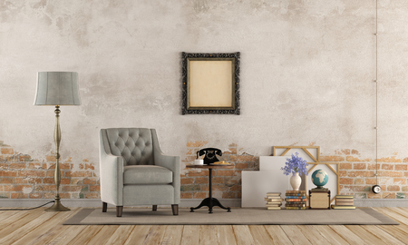 Retro living room with armchair, vintage objects and old wall - 3d rendering