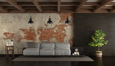 Dark living room in rustic style with pallet sofa, brick wall and wooden paneling- 3d rendering