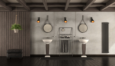 Rustic bathroom with washbasins,dark wooden paneling and footstool 3d rendering