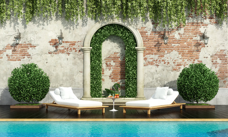 Classical garden with pool two chaise lounge and lush vegetation - 3d rendering