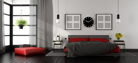 Modern master bedroom with red and black double bed,nightstand and footstool - 3d rendering Standard-Bild