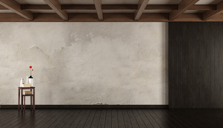 Empty old room with wood paneling,roof beam and coffee table with objects - 3d rendering