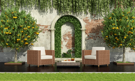 Classical garden with rattan armchairs with lush vegetation - 3d render