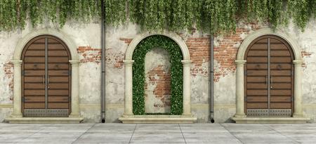 Old facade with wooden doorways and niche with hedges - 3d rendering Standard-Bild