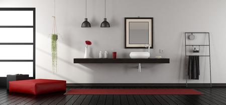 Mininalist bathroom wit washbasin on wooden shelf - 3d rendering
